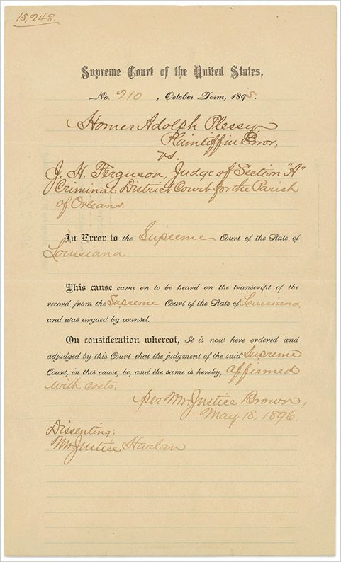 the case of plessy v ferguson essay This video presents how the landmark supreme court case plessy v ferguson helped legalize segregation and sent a message that the federal background essay.