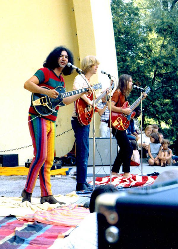The Grateful Dead, West Park, Ann Arbor Michigan, 1967, by Leni Sinclair. Nice pants, Jerry!