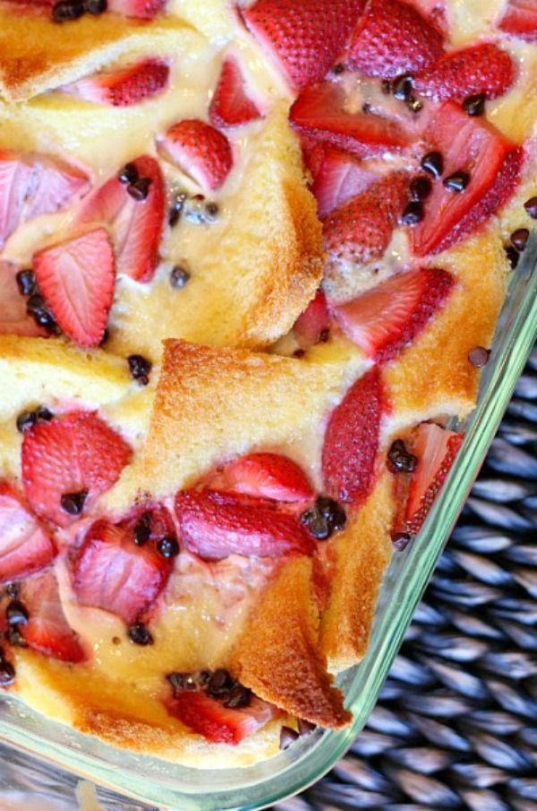 Strawberry Bread Pudding #strawberry #bread #pudding