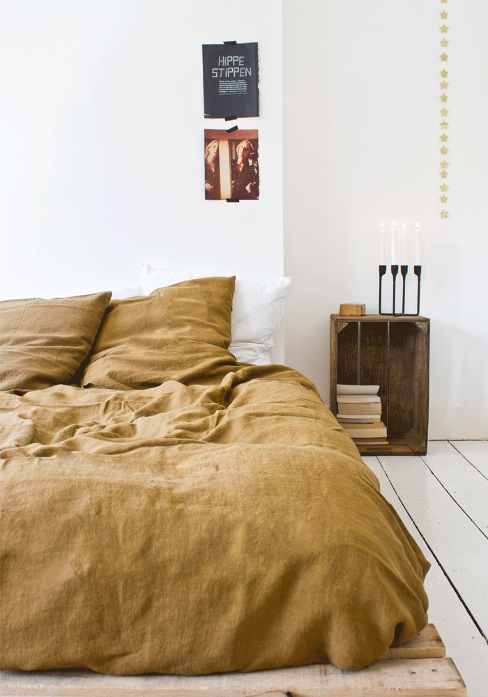 SPLASHDUCK sharing niche interior styling design ideas. (11) Fancy - Mustard Linen Duvet Cover