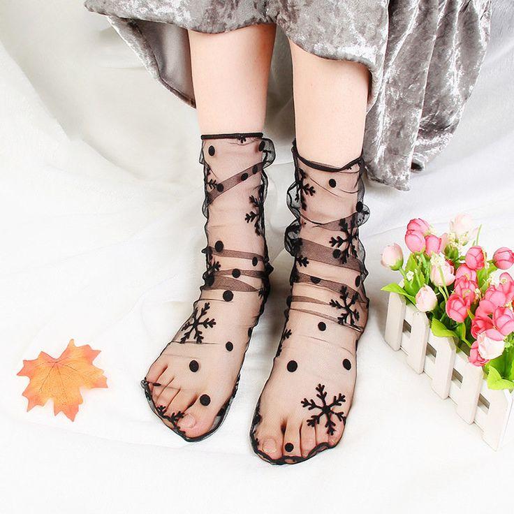Women Girl Check Dot Star High Push Socks Summer Glass Mesh Harajuku Style Sock