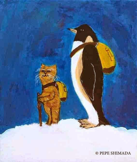 """Departure of a Cat Master and a Penguin"" <=> Acrylic on Canvas Artist Pepe Shimada Copyright © PEPE SHIMADA All Rights Reserved"