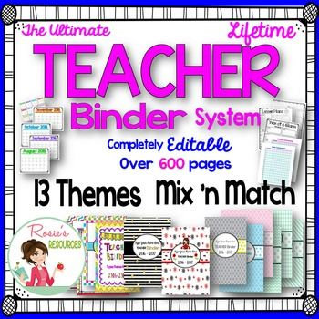 A great organizational tool in 13 mix n match themes. Buy this teacher binder once, then update for free every year from now on! It will help you stay organized this year and every year for the rest of your teaching career. This year's download will be for the 2016-2017 school year.