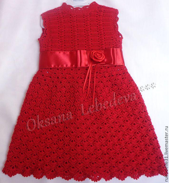 Купить Платье вязаное крючком полушерсть теплое для девочки крючком Алая Роза - платье