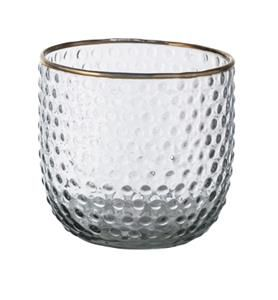 Have been searching although haven't come up with much from our wholesalers.This may not be to your taste?Probably too decorative.  Tall Dots Votive With Gold Rim 10cmDiax9.5cmH - OH0450