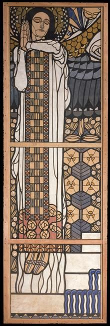 Koloman Moser (1868 - 1918) Paradise 1904-8 Design for stained glass entry for the Church of Am Steinhof in Vienna(consecrated in 1913)