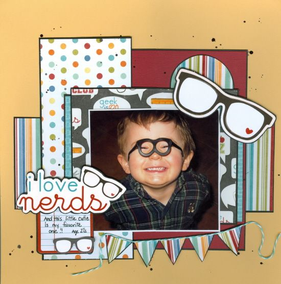 """I love nerds - Scrapbook.com - The perfect photo paired with great Imaginisce """"Geek is Chic"""" Collection creates a really fun layout. #scrapbooking #imaginisce"""
