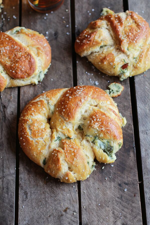 Actually, they are soft beer pretzels, but that just sounded a little funny. Oh my gosh. You guys. Yes, I went there. I stuffed spinach and artichoke dip into a…