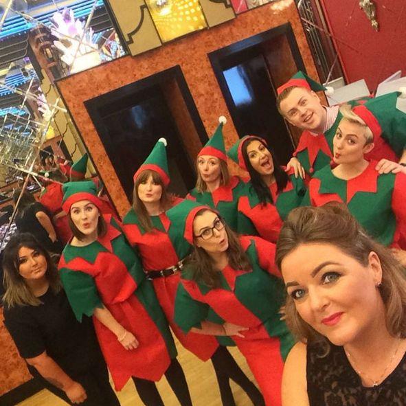Such a jolly bunch having an elfie taken. Haha! xx