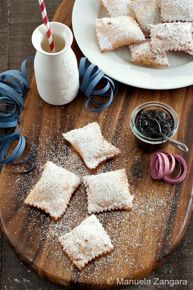 "Ravioli dolci di Carnevale - fried ""ravioli"" filled with jam and dusted with icing sugar, a typical #Italian sweet eaten during #Carnevale."
