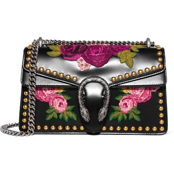 Gucci Dionysus studded appliquéd leather shoulder bag ($4,200) ❤ liked on Polyvore featuring bags, handbags, shoulder bags, gucci, black, shoulder bag purse, genuine leather purse, leather handbags, kiss-lock handbags and real leather purses
