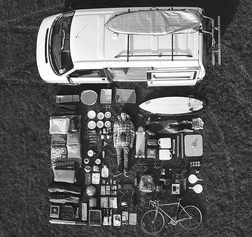 birds eye view   camper van   camping   luggage   surf board   bike   cooking utensils