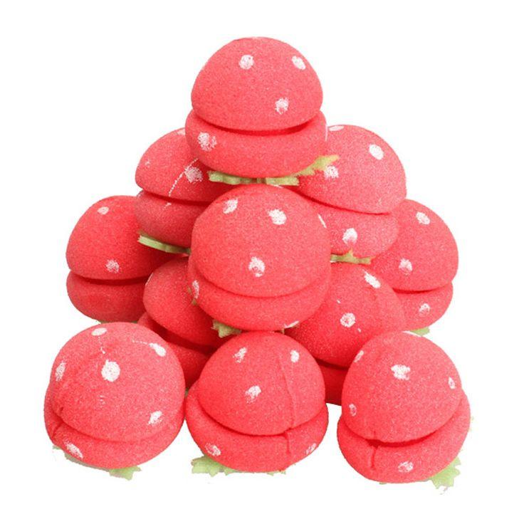 12Pcs Magic Sponge Strawberry Balls Roller Curlers Care Soft DIY Hairdressing Hair Curler Tool