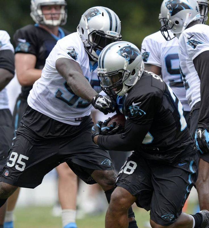 Carolina Panthers' Charles Johnson (95) reaches out to slow up teammate Jonathan Stewart (28) during Carolina Panthers Training Camp at Wofford College in Spartanburg, SC on Sunday, August 9, 2015.