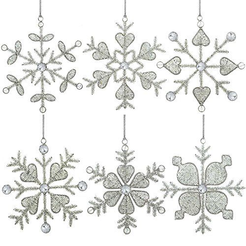 Set of 6 Handmade Snowflake Iron and Glass Pendant Party Ornaments, 6 Inches ShalinIndia http://www.amazon.com/dp/B00LSNLFBQ/ref=cm_sw_r_pi_dp_SxJJvb1Y3QHP7