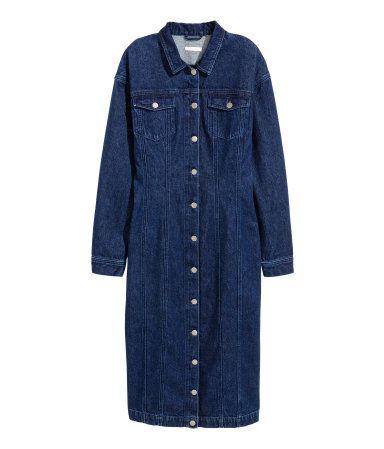 Fitted Denim Dress | Dark denim blue | Ladies | H&M US