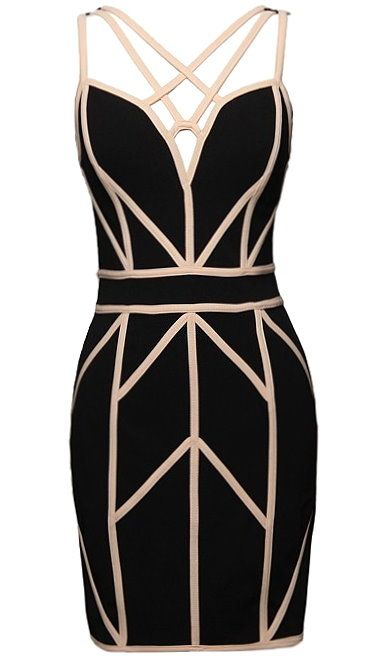 Living Legend Dress: Features a beautiful black foundation accented by contrast beige geometric piping throughout, spellbinding strappy neckline, and an exposed rear zipper to finish.