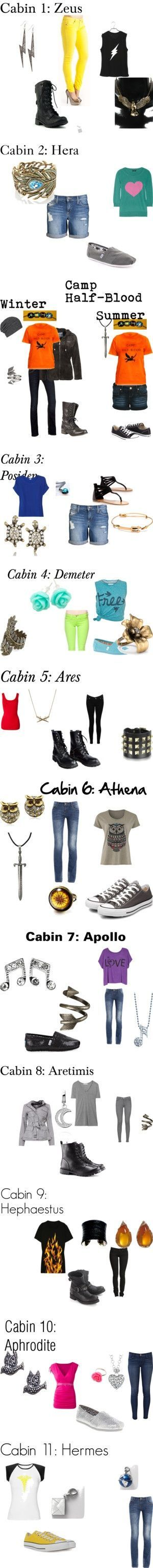 Camp Half-Blood cabin outfits<<< so cute I love Apollo Athena & Artemis