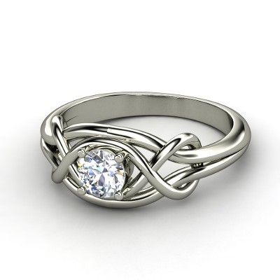 Infinity Knot Ring ~ Round Diamond 14K White Gold Ring | Two infinity symbols are joined with a brilliant gem in this stylishly symbolic ring design. | Gemvera