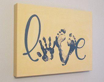 Toute couleur la rayure amour Handprint et par SnowFlowerArts