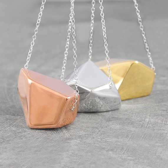Chunky Gold Necklace Geometric Rose Gold Necklace