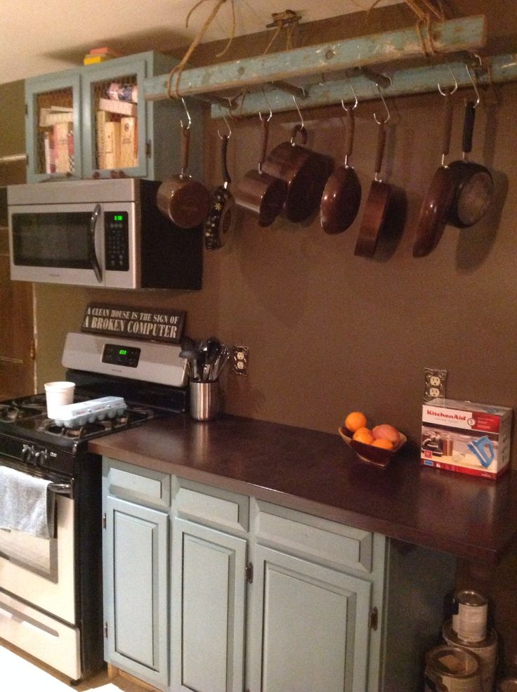 My Friend 39 S Kitchen So Awesome Ladder Pot Rack Birch Counter Tops Beautiful My Kitchen