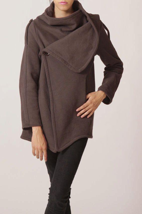 cotton jacket brown long sleeves coat coat dark brown by FM908 on Etsy.