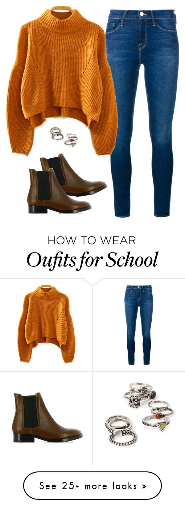 """""""OOTD (Inspired): Simple School Outfit"""" by racheld28 on Polyvore featuring Frame Denim, Acne Studios, Forever 21, women's clothing, women's fashion, women, female, woman, misses and juniors"""