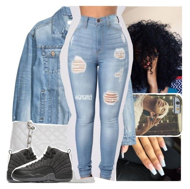 """all denim type of day.."" by lamamig ❤ liked on Polyvore featuring Chanel and NIKE"