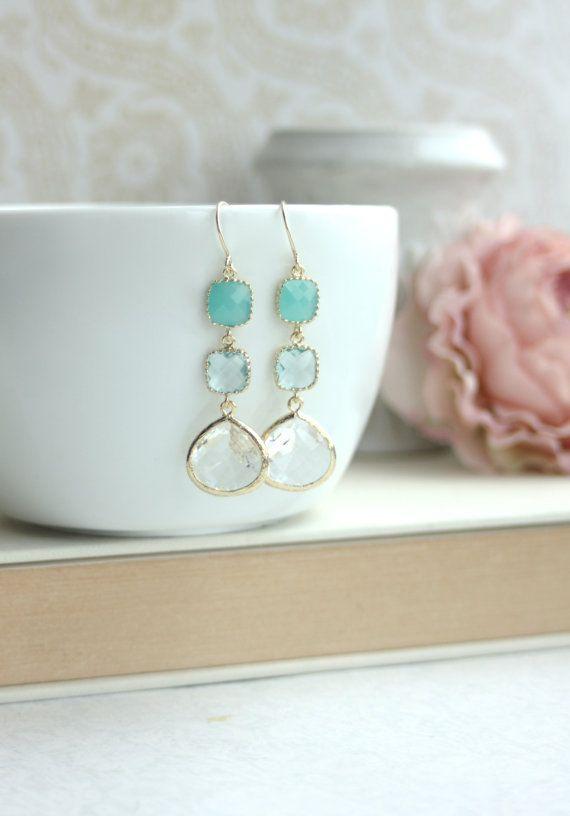 Mint Green Opal Aquamarine Blue Light Blue Gold Framed