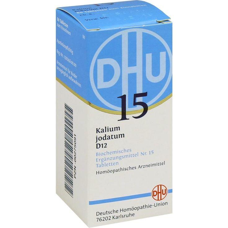 BIOCHEMIE DHU Schüssler Salz 15 Kalium jodatum D12 Tabletten:   Packungsinhalt: 80 St Tabletten PZN: 00275091 Hersteller:…