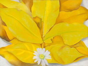 Yellow Hickory Leaves With Daisy - (Georgia O'keeffe)