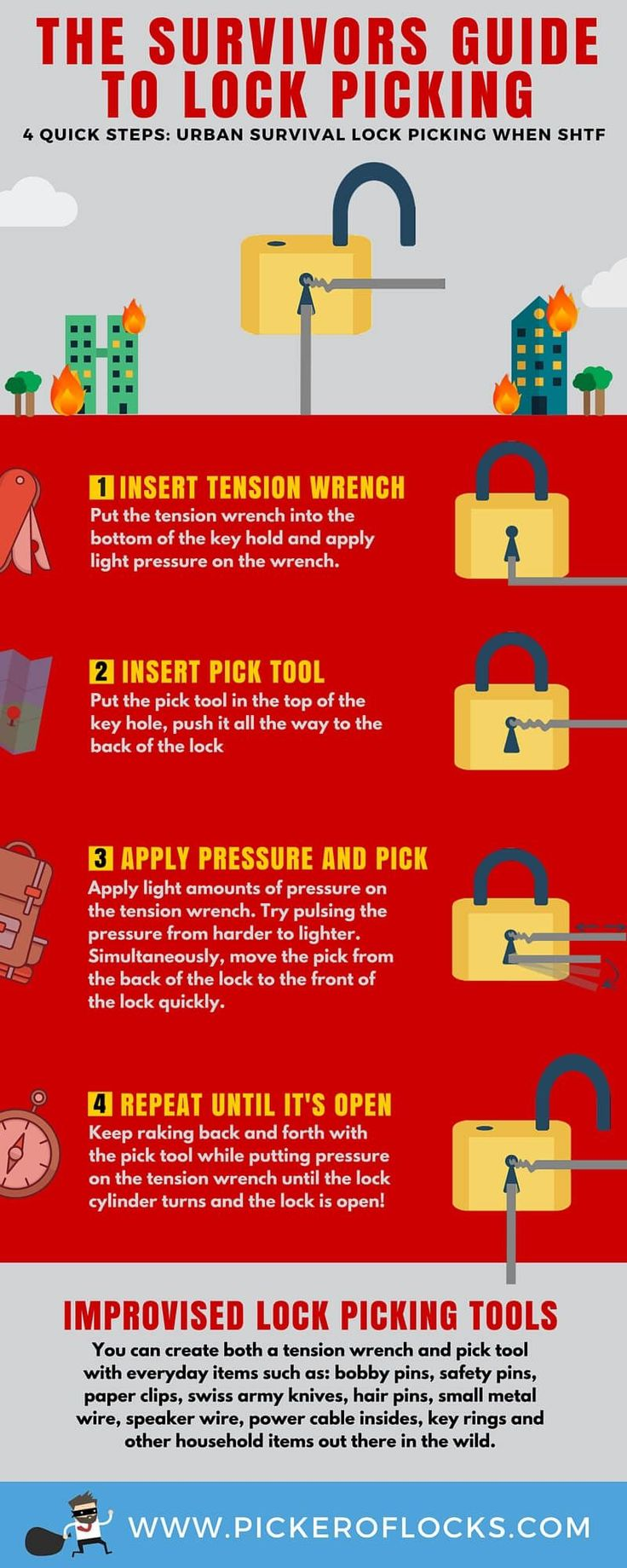 Learn how to pick a lock quickly. Lock picking is a fun hobby and important urban survivalist skill when SHTF comes to find shelter, food, and more