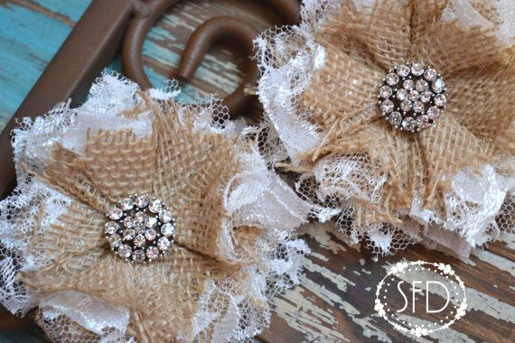 Shabby Chic Burlap and Lace Flowers Set of by SweetFaithDesigns, $14.00