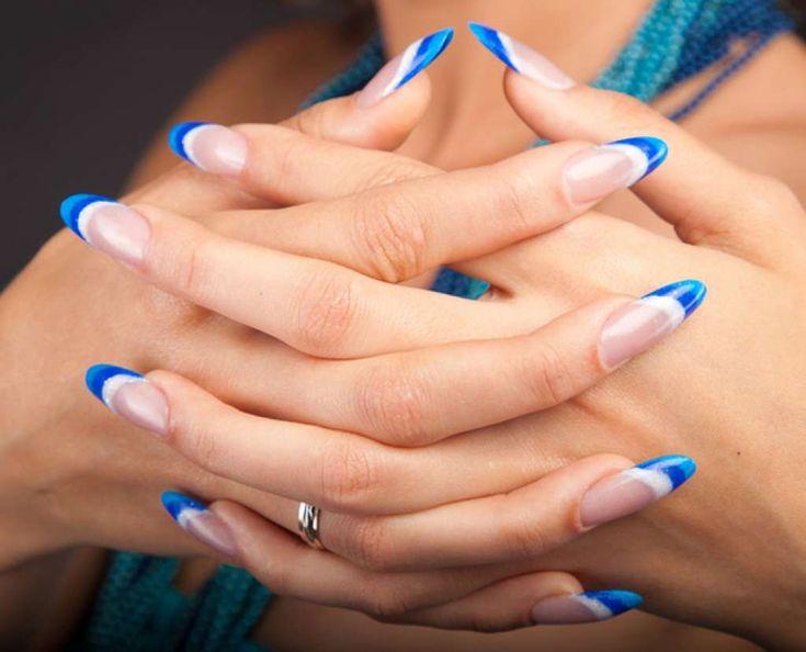 Triple white & blue French mani :: one1lady.com :: #nail #nails #nailart…