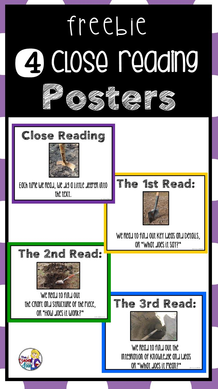 Close Reading: Four Free Posters | Close Reading Posters – The Teacher Next Door