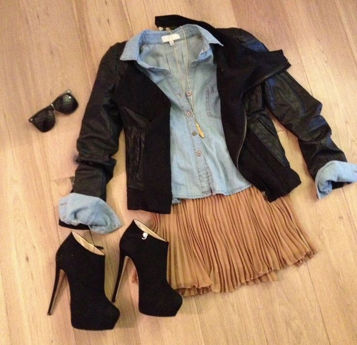 Light denim top, Cedeno pleated skirt, & leather jacket from @SHOPATREND