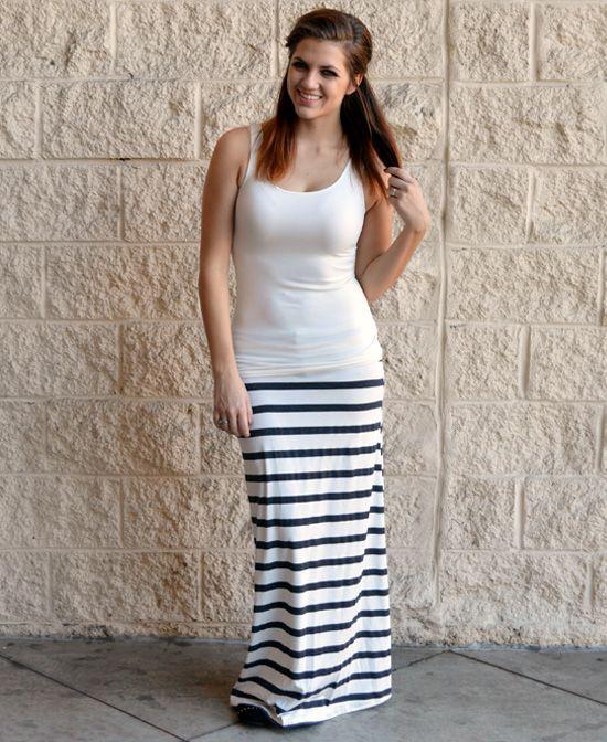 White & Charcoal Striped Maxi : Cute Aprons - Cute Dresses - Cute Maxi Skirts - Cute Gifts - Daisy Shoppe