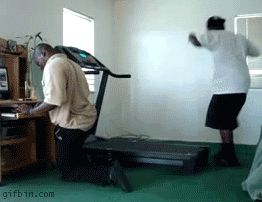 Treadmill guy? He's dead. | 24 People You Know Are Definitely Dead Now -- HIS FLIP FLOPS HAHAHAHAAH