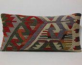 aztec pillow cover striped pillow kilim pillowcase folk art pillow traditional pillow tapestry pillow throw pillow cover purple cream red