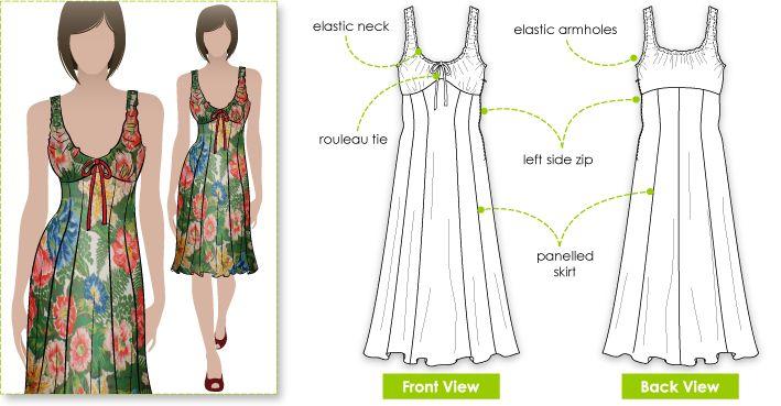 Soft chiffon Sophia Dress sewing pattern