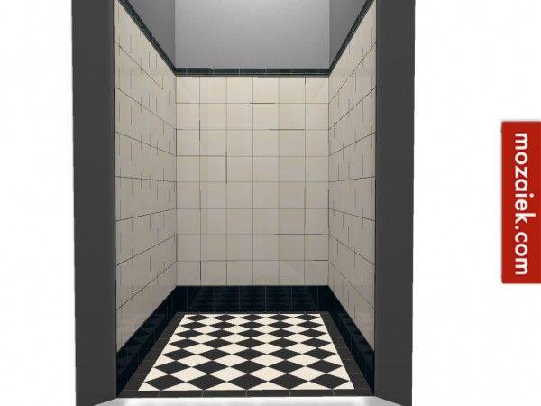 Afbeeldingsresultaat voor zwart wit mozaiek badkamer