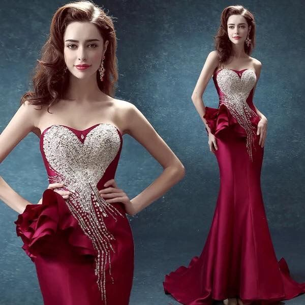 Wine Red Long Y Evening Dress Crystal Mermaid Formarl Bride Party Dressespea Wowget It Here
