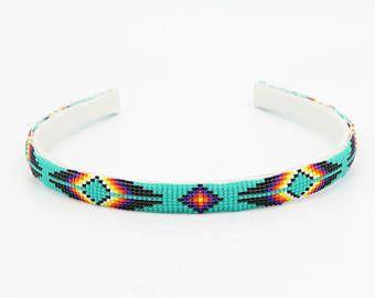 joyería indígena navajo joyería, abalorios indios americanos, nativos americana joyería moldeada, venda del pelo, navajo, banda para la cabeza de cuentas Navajo