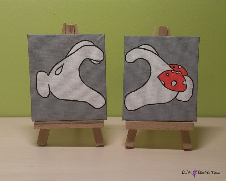 -HEART BY MICKEY AND MINNIE -Water markers -Measures: 7x8 cm each  https://www.etsy.com/listing/213131083/mickey-and-minnie-love-hands-on-canvas?ref=shop_home_active_22