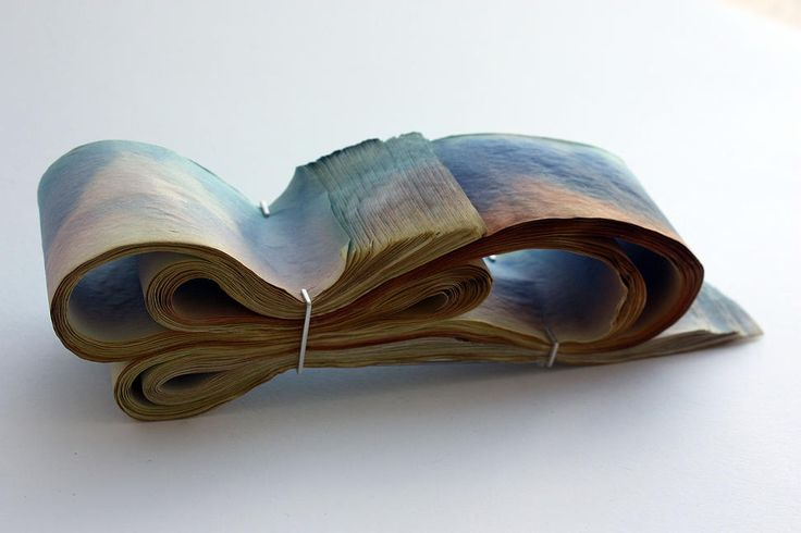 "Rachel Blair  - ""overwhelmed"" folded brooch -  white metal & ink stained paper"