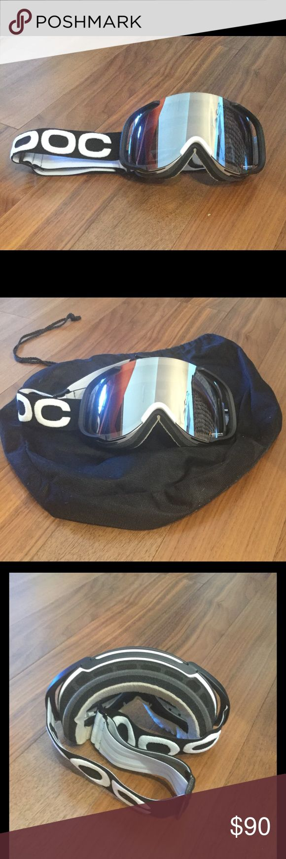 POC Cornea oversized silver mirrored ski goggles Large lens silver mirrored oversized ski goggles. Great condition, only worn one (light) season. Soft frame with helmet compatible outriggers. Triple layer face foam for a soft & comfortable fit & feel.  Anti fog treated inner lens, anti fog coating, anti scratch coating. Adjustable silicone backed logo strap maintains secure fit over helmet. white silky protective bag included. POC Accessories Sunglasses