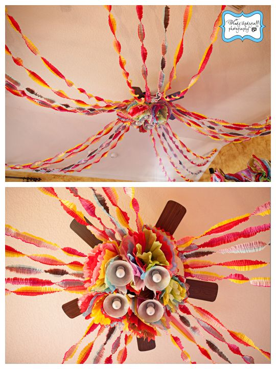 Ruffled Streamers & Tissue Flowers Ceiling Décor  {via Wendy Updegraff Photography}