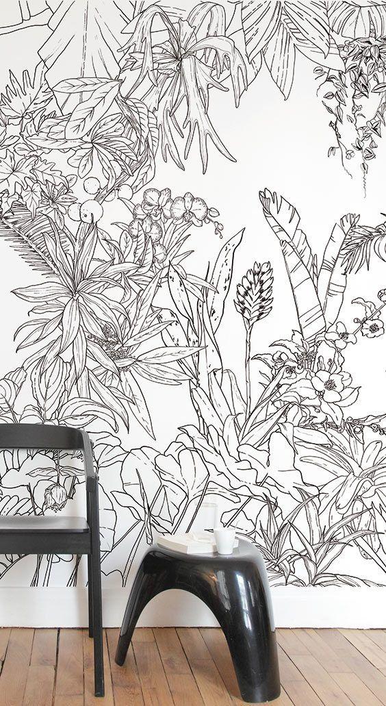 Papier Peint Jungle Tropical Noir Blanc Pour Ohmywall Créé Par Le