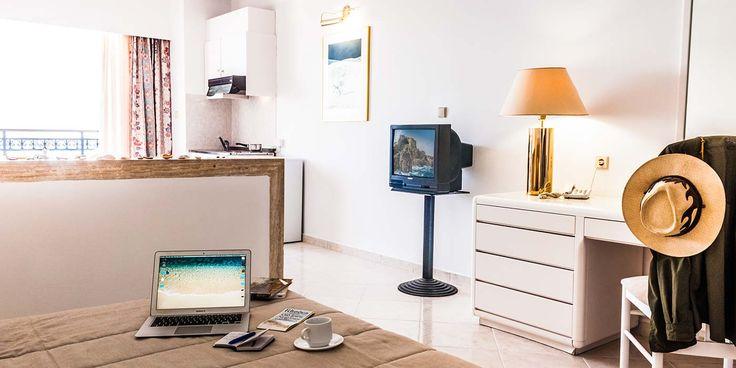 Studios | Epsilon Hotel . Epsilon hotel's studios in Faliraki, Rhodes can accommodate up to three people in comfortable and elegant spaces.